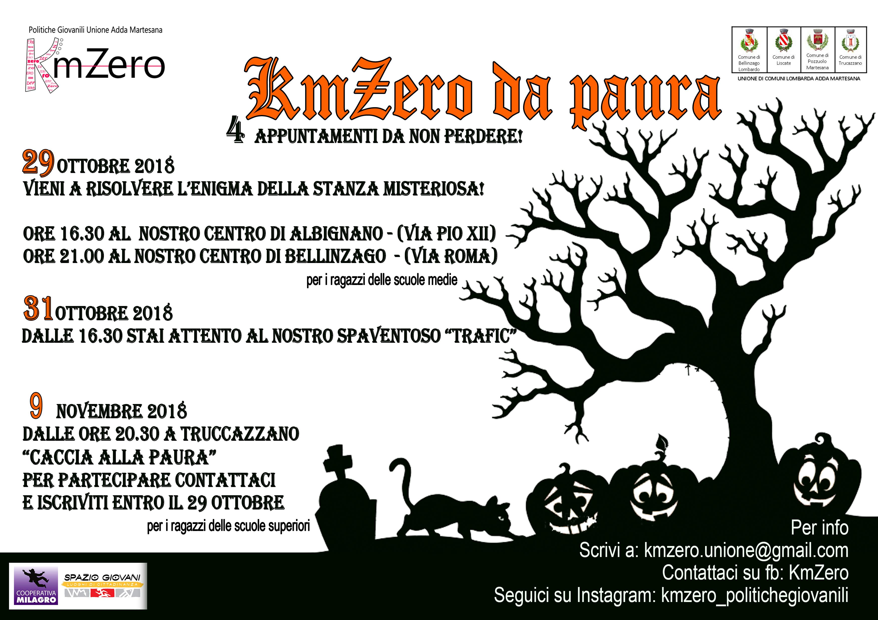 locandina evento kmzero centri giovanili per halloween